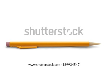 Yellow Plastic Mechanical Pencil Isolated on White Background. - stock photo