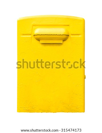 Yellow post office mailbox isolated on white background. - stock photo