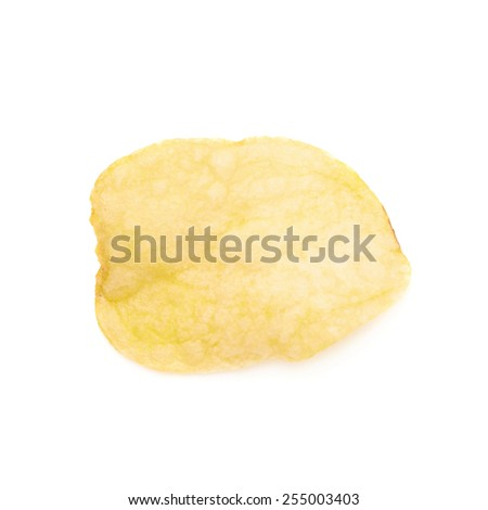 Yellow potato chips isolated over the white background - stock photo