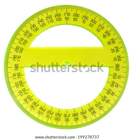 yellow protractor isolated on white - stock photo
