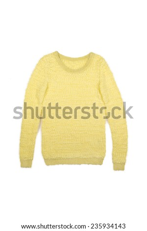 yellow pullover on a white background - stock photo