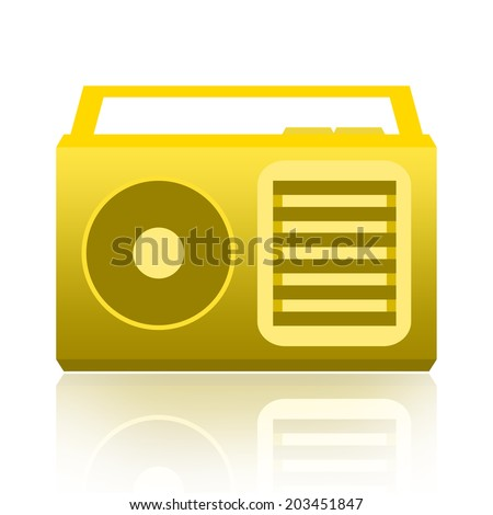Yellow radio receiver isolated over white background - stock photo