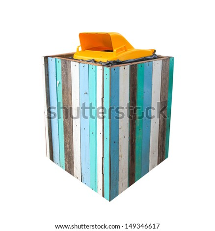 yellow Recycle bin cover with color wood - stock photo