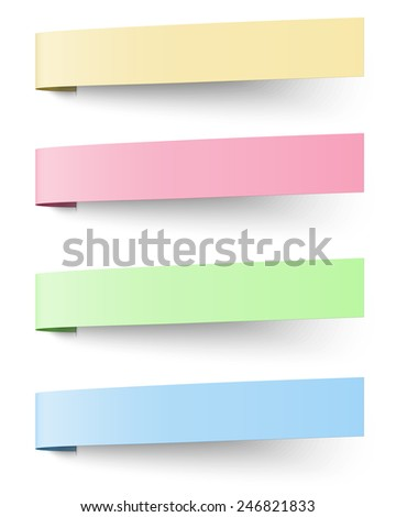 Yellow, red, blue and green sticky notes isolated on white background. Raster version illustration. - stock photo