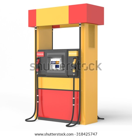 Yellow/red gas pump on white background.3d render - stock photo