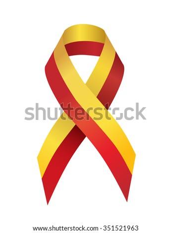 Yellow Red Ribbon stands for Hepatitis C Virus Awareness - stock photo