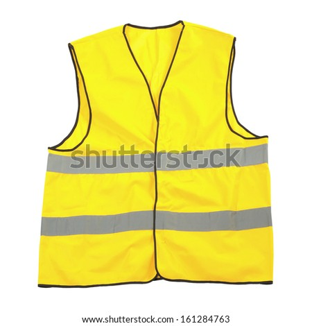 Yellow reflective safety vest isolated over a white background. - stock photo