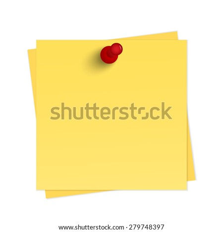 Yellow reminder with pin - stock photo