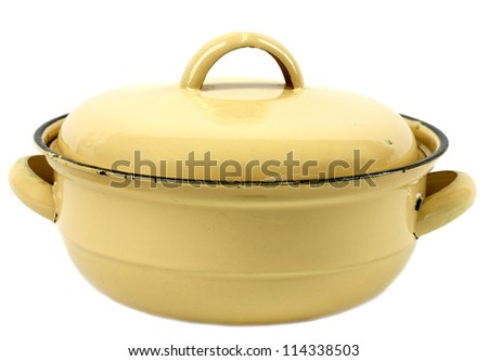 Yellow retro lidded pot isolated on white - stock photo