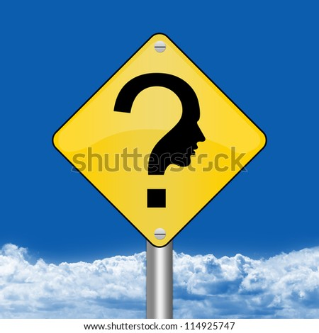 Yellow Rhombus Road Sign For Question and Confusion Sign Against The Blue Sky Background - stock photo