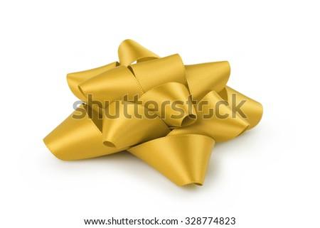 yellow ribbon gift bow isolated on white background - stock photo