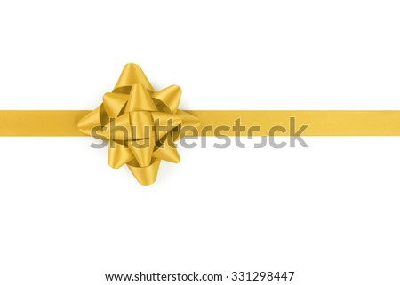 yellow ribbon with gift bow isolated on white background - stock photo