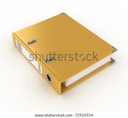yellow ring binder isolated on the white background - stock photo
