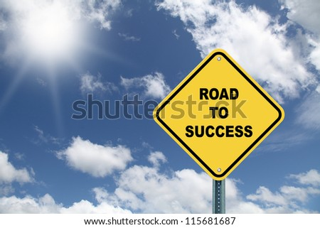 Yellow road sign Road to success - stock photo
