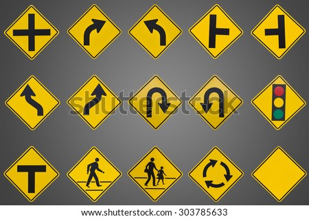 yellow road signs, traffic signs set on grey background - stock photo