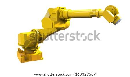 Yellow robot arm isolated on white background - stock photo