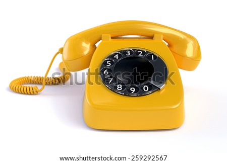 Yellow Rotary Phone isolated on white - stock photo