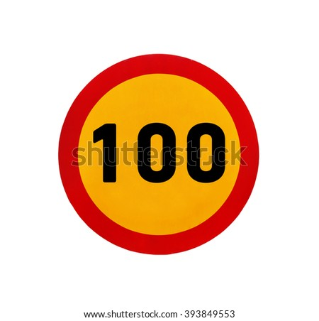 Yellow round speed limit 100 road sign - stock photo