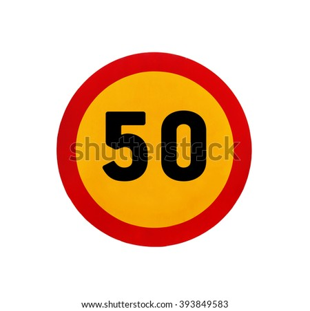 Yellow round speed limit 50 road sign - stock photo