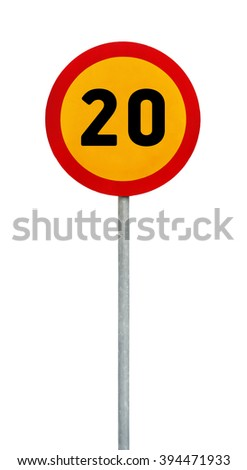 Yellow round speed limit 20 road sign on rod - stock photo