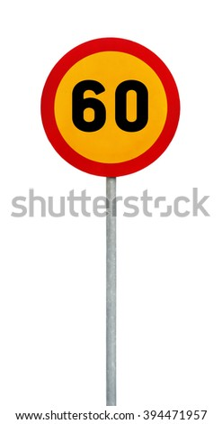 Yellow round speed limit 60 road sign on rod - stock photo