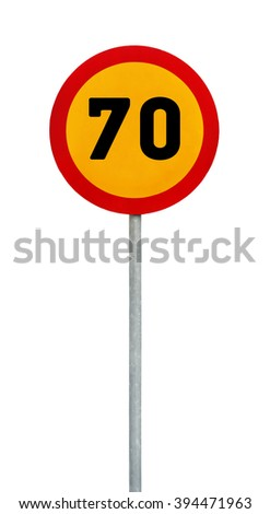 Yellow round speed limit 70 road sign on rod - stock photo