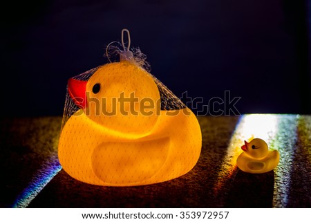 Yellow rubber duck and little ducky - stock photo