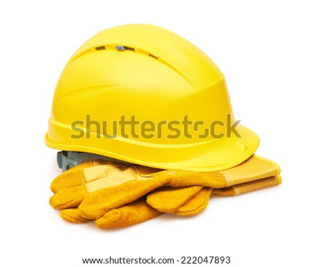 Yellow safety helmet and Protective gloves, isolated on white background - stock photo