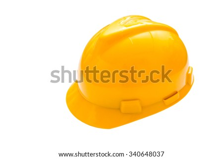 Yellow safety helmet or hard hat isolated on white background - stock photo