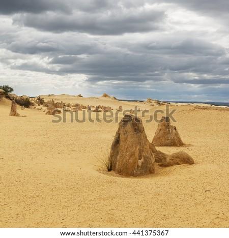 Yellow sand dunes and  limestone  pillars  Pinnacles Desert in the Nambung National Park, Western Australia. - stock photo