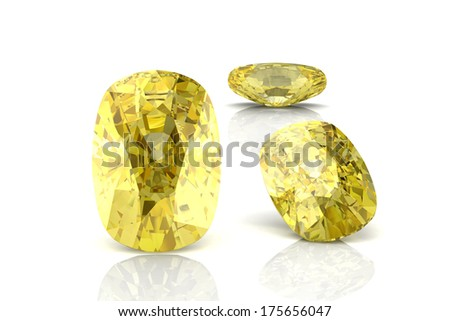 yellow sapphire (high resolution 3D image) - stock photo