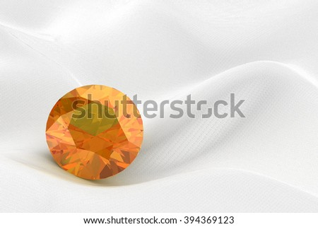 yellow sapphire on white background (high resolution 3D image) - stock photo