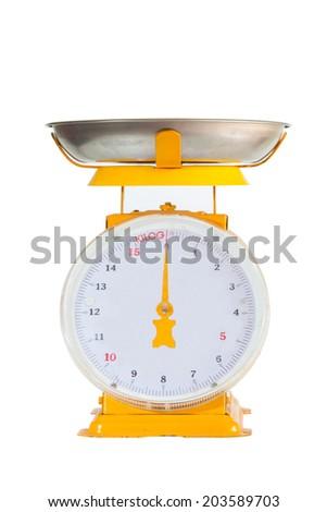 yellow scale on white background. - stock photo