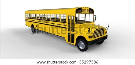 Yellow school bus isolated on white - stock photo