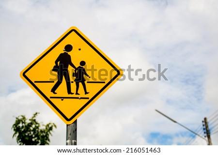 Yellow School Warning Sign - stock photo