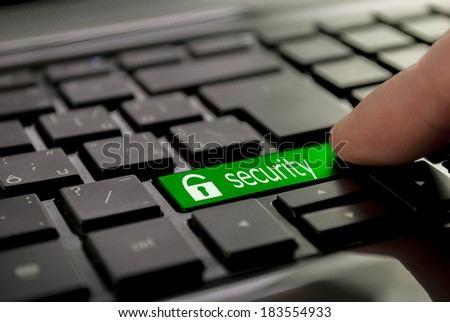 yellow search button or key on black keyboard - stock photo