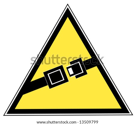 yellow seatbelt sign indicating to buckle up - stock photo