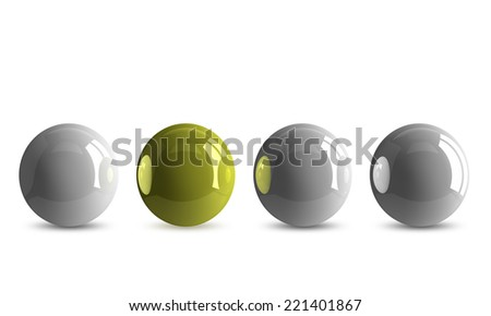 Yellow shiny ball in row of white ones isolated on white - stock photo