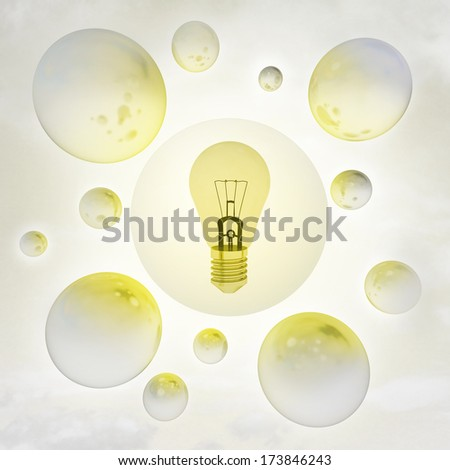 yellow shiny bulb with glossy bubbles in the air with flare illustration - stock photo