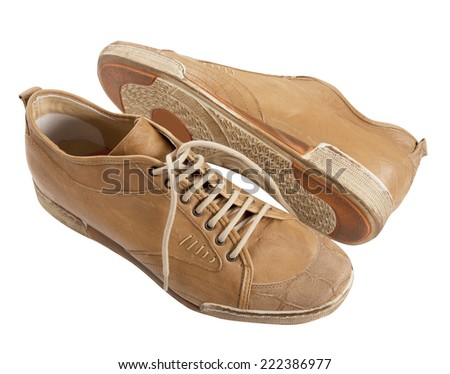 yellow shoes isolated on white - stock photo