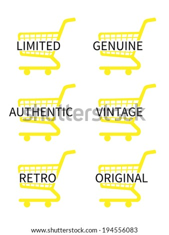 Yellow Shopping Cart Icons with Vintage Texts - stock photo