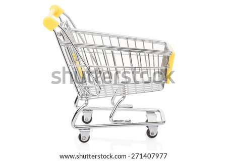 Yellow shopping supermarket cart isolated on white, clipping path included - stock photo