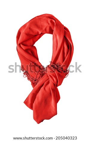 Yellow silk knotted scarf isolated over white - stock photo