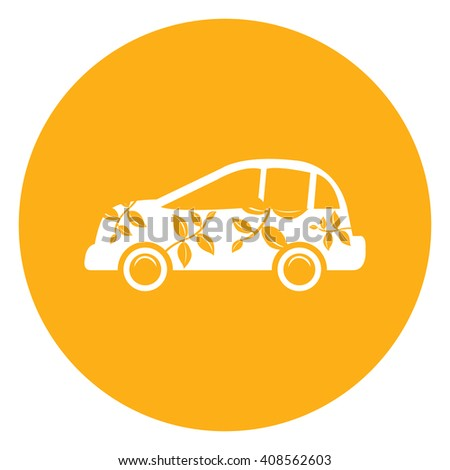 Yellow Simple Circle Eco Car Infographics Flat Icon, Sign Isolated on White Background - stock photo