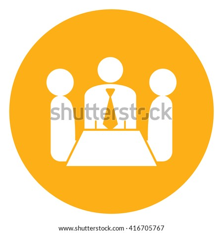 Yellow Simple Circle Group of Businessman Meeting, Discussion Flat Icon, Sign Isolated on White Background - stock photo