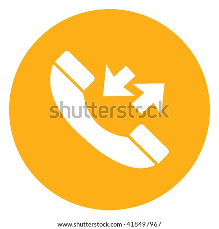 Yellow Simple Circle Telephone With Call Back Sign Infographics Flat Icon, Sign Isolated on White Background  - stock photo