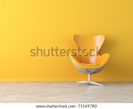 yellow simple interior with chair and copy space on the wall - stock photo