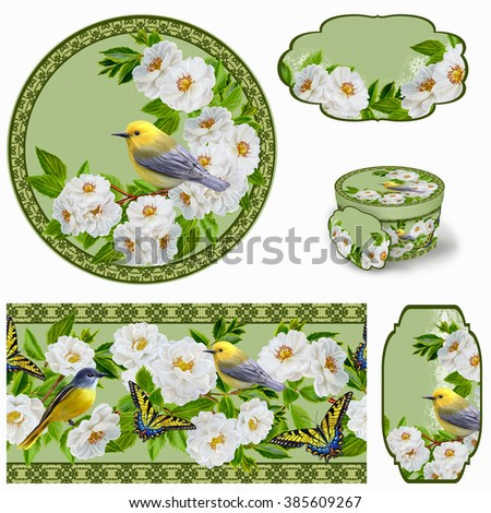 Yellow small bird on branch blooming white roses and butterfly.Set for packaging. Box round. Label. decoupage. Floral background. Flower border. Pattern. Mosaic. - stock photo