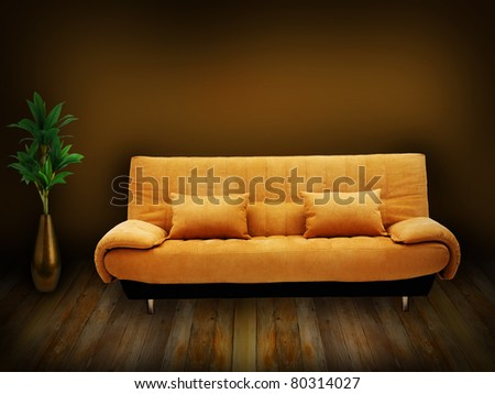 yellow sofa, wooden floor, green plant in a vase - home background - stock photo