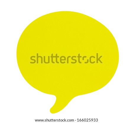 Yellow speech bubbles sticky note of cartoon and comics over white background  - stock photo